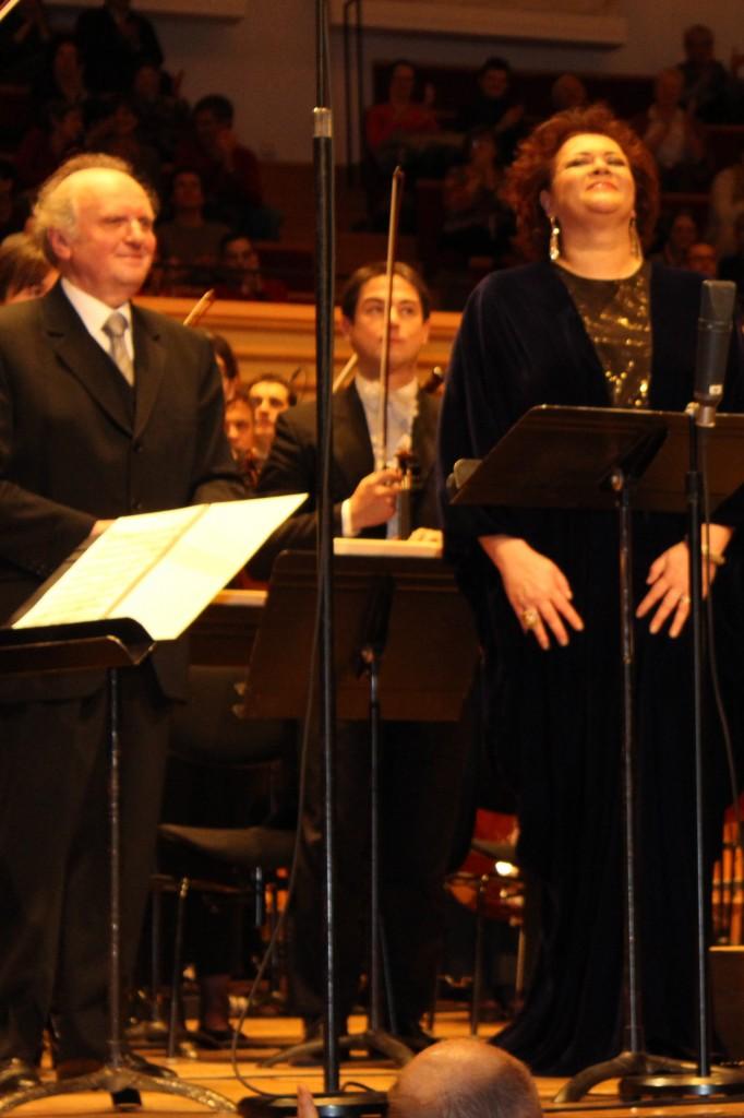 Marek Janowski et Violeta Urmana à la Salle Pleyel, le 6 janvier 2013. Photo d'après Josée Novicz.