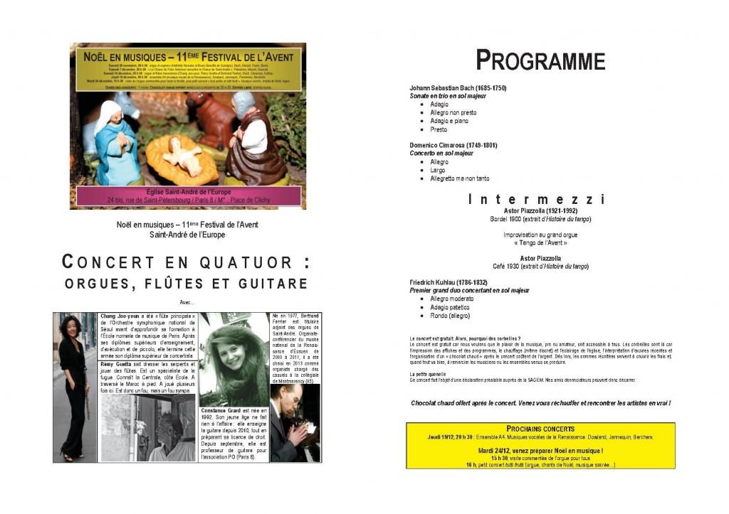 Programme concert 14 décembre