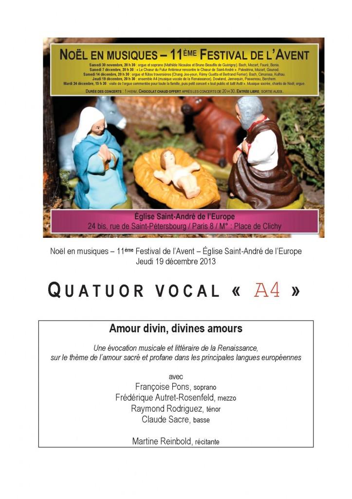 Concert à l'église Saint-André de l'Europe. Jeudi 19/12, 20 h 30. Musique vocale de la Renaissance. Entrée libre.