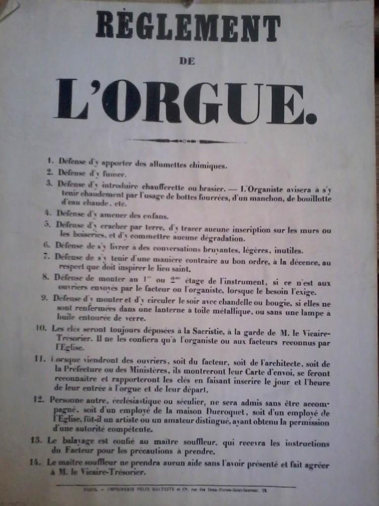 Règlement orgue
