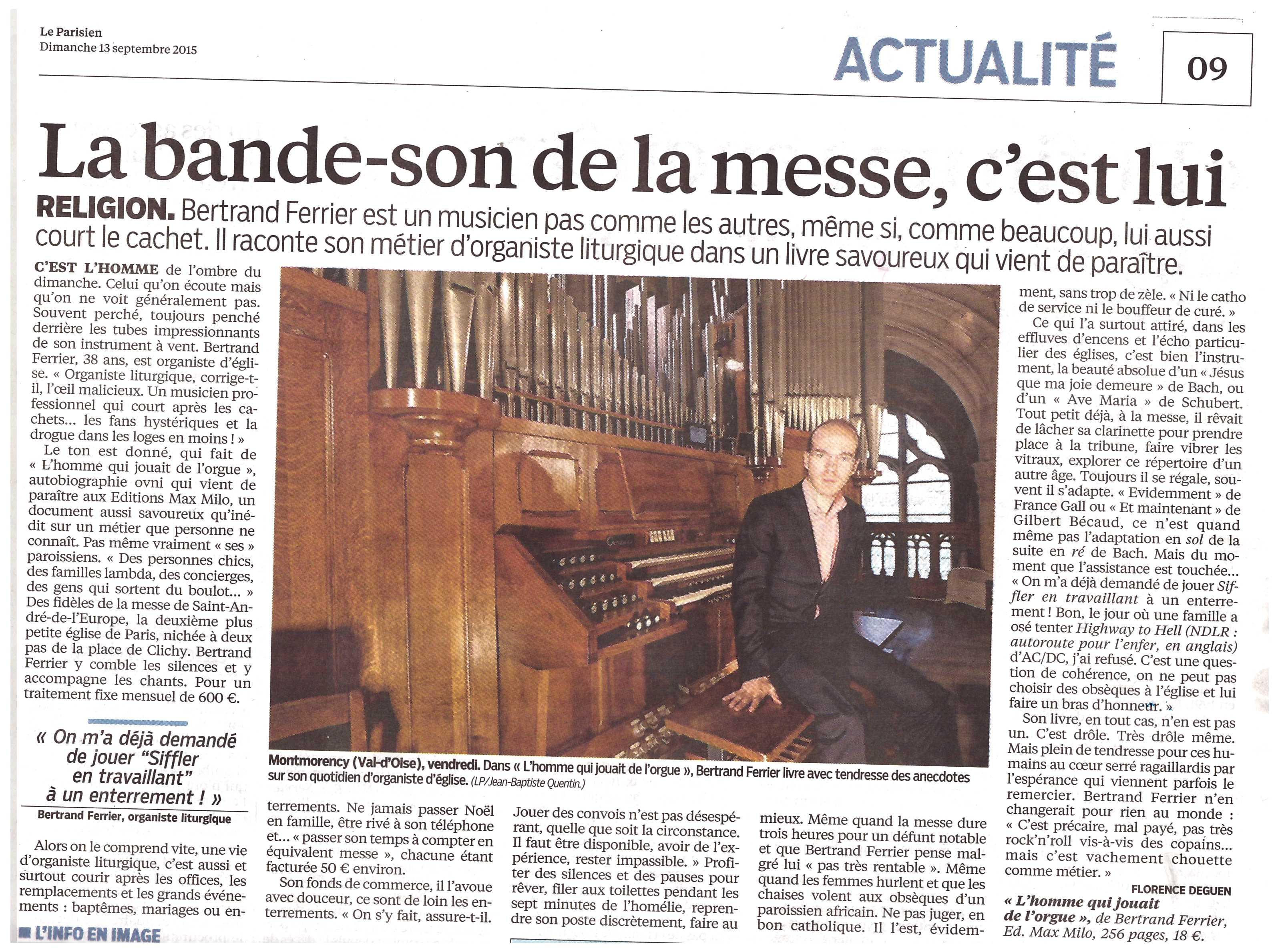 """""""L'Homme qui jouait de l'orgue"""" séduit """"Le Parisien"""""""