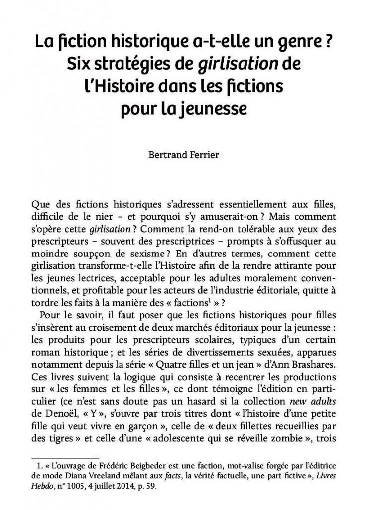 Début article fictions historiques
