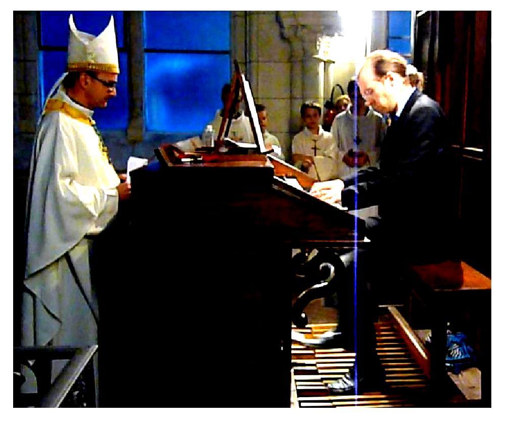 Inauguration de l'orgue restauré de Saint-André-de-l'Europe. Photo : d'après une captation de Mary Douerin.