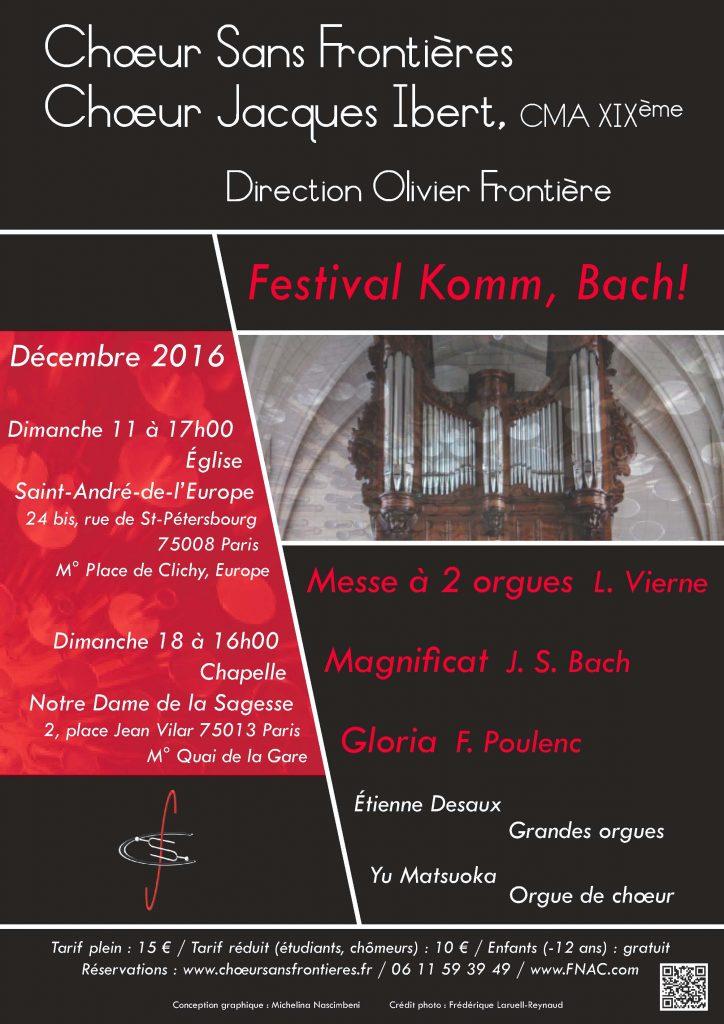 Komm Bach - Concert du 11 décembre 2016